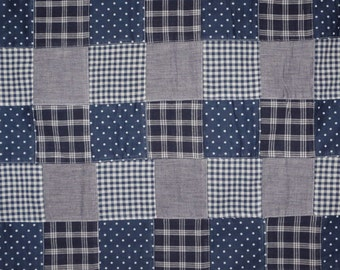 SPECIAL--Indigo Blues Nantucket Patchwork Pure Cotton Fabric--BY THE Yard