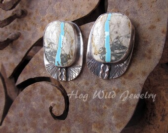 Rare Ribbon Turquoise Sterling Silver Post Earrings