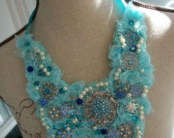 Necklace - Romantic Bib Necklace - Handmade Textile Necklace in Pale Blues - One of a Kind Statement Necklace