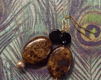 Brown Speckled Stone Earrings