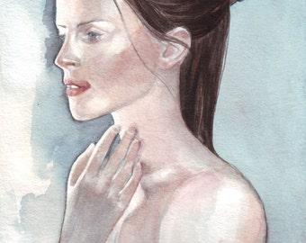 original watercolor painting / portrait beautiful woman / blue grey turquoise / dark hair / porcelain skin / white towel / H014