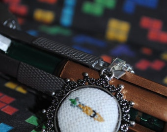 The 11th Sonic Screwdriver Inspired  - Pixel Point Pendant - Mini Cross-Stitch Necklace
