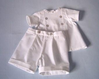 Samuel. 2 piece Boys Christening Suit, White Linen-blend, Classic Baptism Diaper Shirt & Shorts,  Portrait, size Newborn to 3 mo.