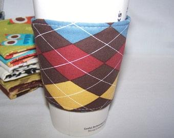 FREE SHIPPING --- Eco-Friendly Coffee/Tea Sleeve --- Argyle