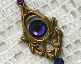 Purple Velvet Bindi in Oxidized Brass