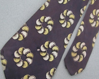 Vintage Rare 40s 50s Art Deco Swing Lindyhop Rockabilly Purple Men Neck Tie #VE