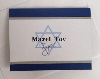 Bar Mitzvah Card, Jewish Bar Mitzvah, Bar Mitzvah Gift Ideas, Bar Mitzvah Boy, Mazel Tov in Hebrew, Congratulations Card, Custom Card