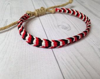 Friendship Bracelet, Macrame Bracelet, Beach Bracelet, Hemp Bracelet, Red, White, Black