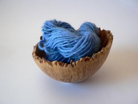 SALE Handspun Baby Alpaca Yarn Hand Dyed - Sky Blue 33 yards Bulky Weight