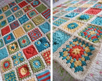 RESERVED Custom Order - Shabby Flower Heart Granny Square Afghan Blanket Throw