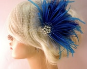 Wedding Bridal Fascinator, Bridal Fascinator, Feather Fascinator , Wedding Veil, Bridal Headpiece - Grey, Purple,and  Blue