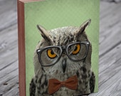 Owl with Glasses - Owl Art - The Studious Owl - Owl Art Print - Wood Block Art Print