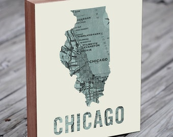 Chicago Map Art - Chicago Print - Chicago Art - Chicago Map Print - Wood Block Wall Art Print
