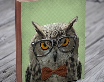 Owl with Glasses - Owl Art - The Studious Owl - Owl Art Print - Wood Block Art Print