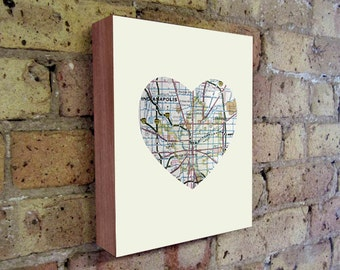 Indianapolis - Indianapolis Art - Indianapolis Map - Indiana Map Art - City Heart Map - Wood Block Art Print