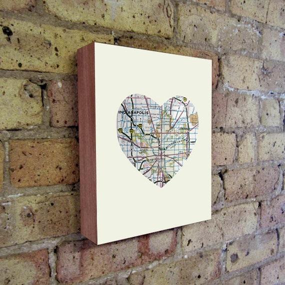 Indianapolis - Indianapolis Art - Indianapolis Map - Indiana Map Art - City Heart Map - Wood Block Art Print