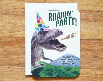 Personalized Dinosaur Birthday Party Invitations - Set of 12