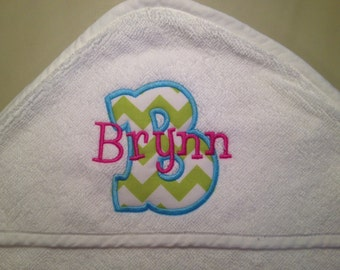 Monogrammed Personalized infant baby toddler appliqued hooded white towel, --FAST TURNAROUND--