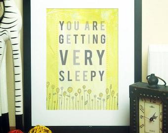 Very Sleepy // Typographic Print, Baby Shower Gift, Nursery Art, Art for Baby, Sunshine, Sunny, Lemon, Yellow