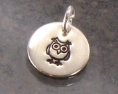 Hand Stamped Owl Charm -  1/2 Inch Sterling Silver Disc with a Whimsical Owl - Domed, Cupped or Flat Style - Add a Charm to Your Jewelry