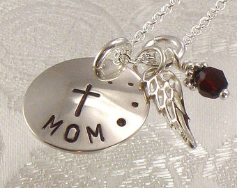 Personalized Angel Wing Necklace - Hand Stamped with Mom, Parent or Choice of Name and Cross - Memory Necklace - Remembrance