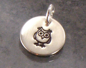 Hand Stamped Owl Charm -  1/2 Inch Sterling Silver Disc with a Whimsical Owl - Domed, Cupped or Flat Style - Add a Charm - Stocking Stuffer