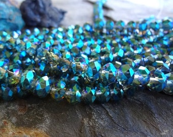 Faceted Crystal Puffy Rhondelle, Crystal Green, 8mm, 35 Pieces Per Strand