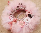 The Gracynn II  Wreath - Announcement Sign-  Vintage Style Shabby Chic Tutu Tulle Wreath- Pink and Neutrals