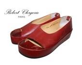 90s minimalist red leather platform robert clergerie sandals size 6.5