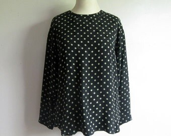 Vintage 90s Joan and David Blouse Silk Black Polka Dot Jacquard Designer 1990s Top 10