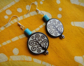 Tree of Life Charm Earrings Batik Bone and Turquoise Beaded Boho Hippie African Tribal
