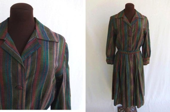 Vintage 50s 60s Dress Shirtwaist Striped Cotton In Fall Colors