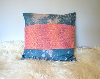 Handwoven Wool Pillow, Colorblock Pink Ombre with Hand Dyed Blue Galaxy Print -  18x18 Pillow Cover - Decorative Pillow