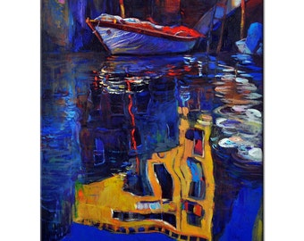 Night reflections 18.11in x 21.65 in, Landscape Painting Original Art Impressionistic OIl on Canvas by Ivailo Nikolov
