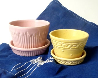 Set of Two Vintage Pastel Ceramic Planters ... Pottery, Flowerpots, Pink Yellow Petite Flower Pots, Built In Saucer, Pencil Holder, McCoy