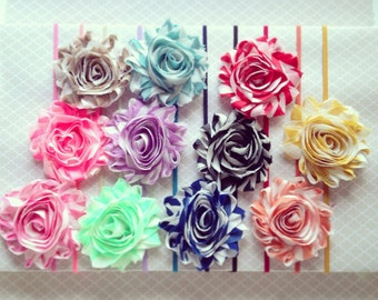 Chiffon Flower Hair Clip + Headband: Shabby Chic + Fabric Rose + Skinny Elastic + Newborn Baby Girl Headband + Halo Headwrap + Barrette
