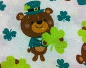 Bears and Clovers with Glitter Cotton Fabric / St Patricks Day /Leprechauns / Craft Supplies / Home Decor