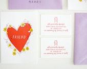 Letterpress Card - Friend Heart