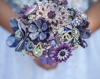 Purple Brooch Bouquet | Custom Medium Bling Domed Broach Crystal Bouquet - Sparkle High Shine Statement Bouquet | Handmade Jewelry Boquet
