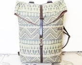 Vegan  Backpack - Rucksack -  Green Navajo Upholstery- 4 Pockets - Adjustable Straps - Small Size in Cotton Fabric
