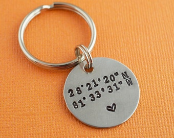 Latitude Longitude Hand Stamped Keychain Pendant by The Copper Fox