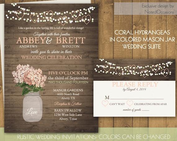 Mason Jar Wedding Invitations - Rustic Wedding Invitations ...