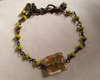 Green Bracelet - Brass Jewelry - Chain Jewellery - Lampwork Glass Focal Bead - Butterfly and Flower Charms