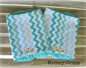 Baby Boy Gift, Turquoise Chevron Minky Burpies / Burp Cloths
