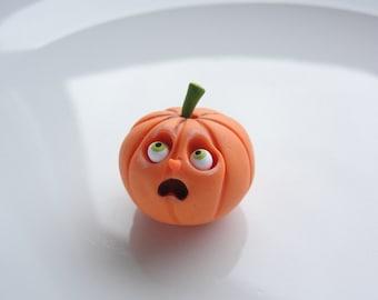 Halloween miniature pumpkin sculpture for 1:12 scale dollhouse handmade from polymer clay