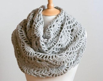 CROCHET PATTERN instant download - Lacy Grey Cowl - gray intricate neck warmer tutorial PDF