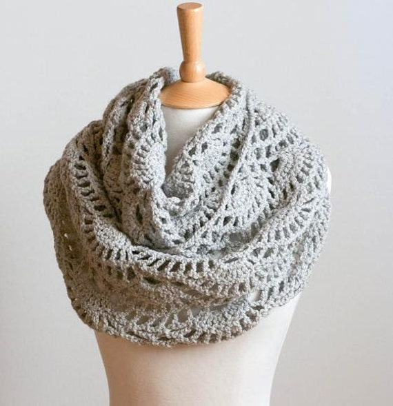 CROCHET PATTERN instant download Lacy Grey Cowl gray