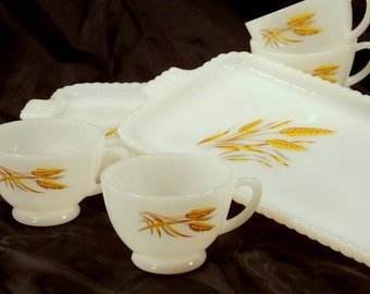 Fire King, Anchor Hocking, Wheat pattern Milk glass Snack/Luncheon plates and Cups, circa 1962