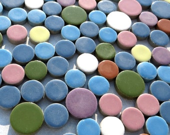 Circles Mosaic Tiles in Assorted Sizes and Colors - 1 Pound Ceramic Tiles