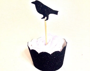24  Black Glitter Crow Cupcake Topper - Food Pick - Party Pick